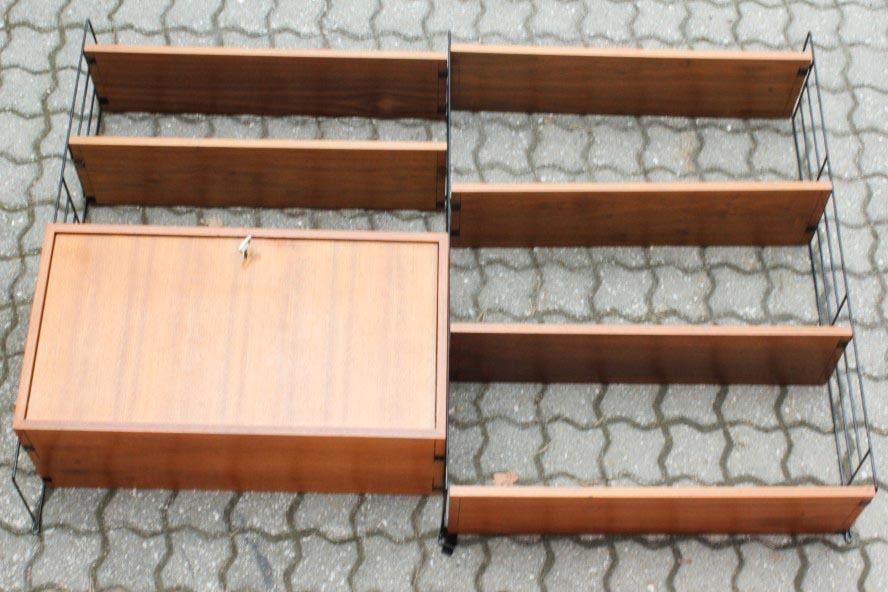 String Wand Regal Teak Holz Draht Shelf Vintage Wohnz. Büro 60er ...