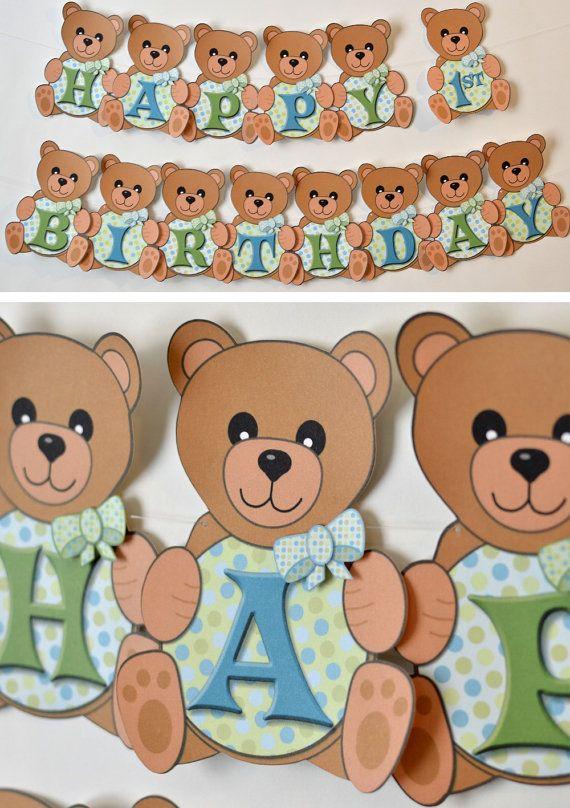 Boy Teddy Bear Birthday Party Teddy Bear Baby By Bcpaperdesigns 15 00 Teddy Bear Birthday Party Teddy Bear Birthday Bear Birthday