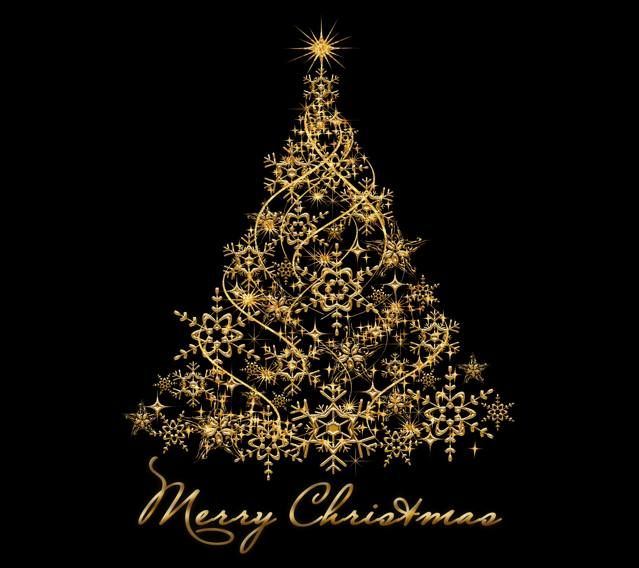Merry Christmas Wallpaper Dark Gold Tree