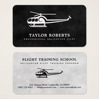 Cool Helicopter Pilot Trainer Flight Instructor Business Card - professional gifts custom personal diy