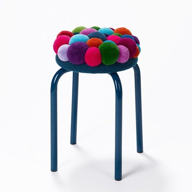 (2) Fancy - Multicolored Pompon Stool No.03