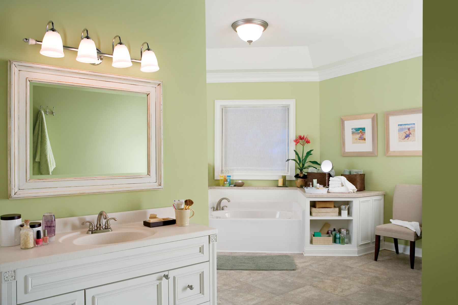 My bathroom is currently dark green and I hate it, but this light ...