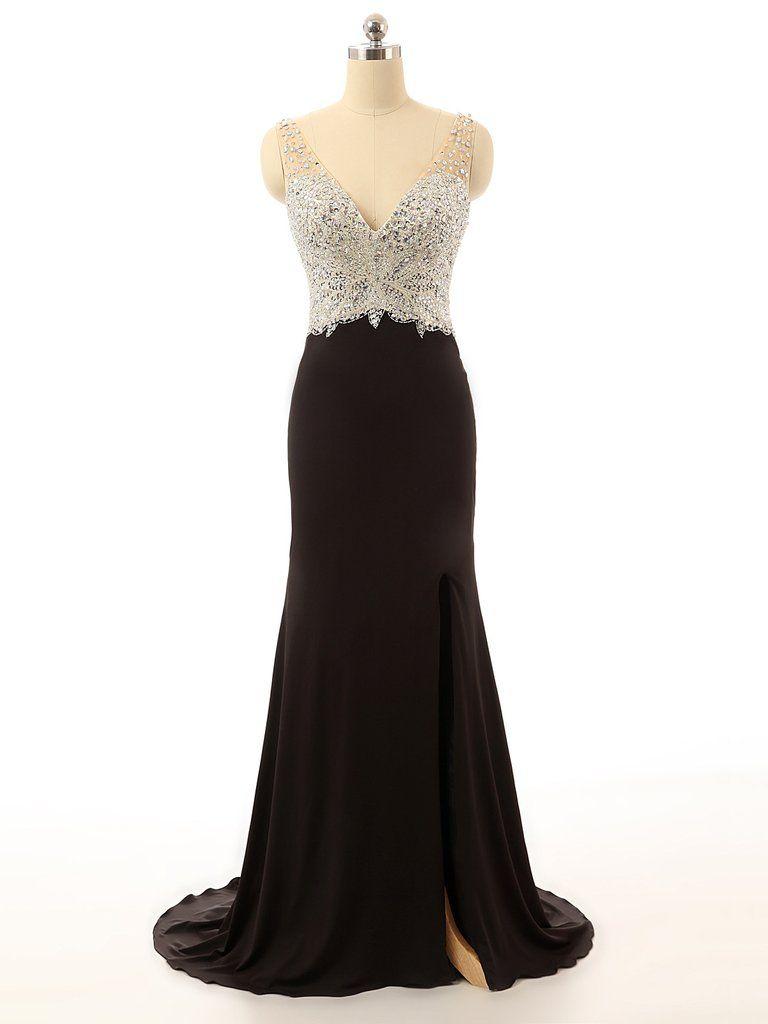 Xp deep v neck top beading sexy mermaid black prom dressblack