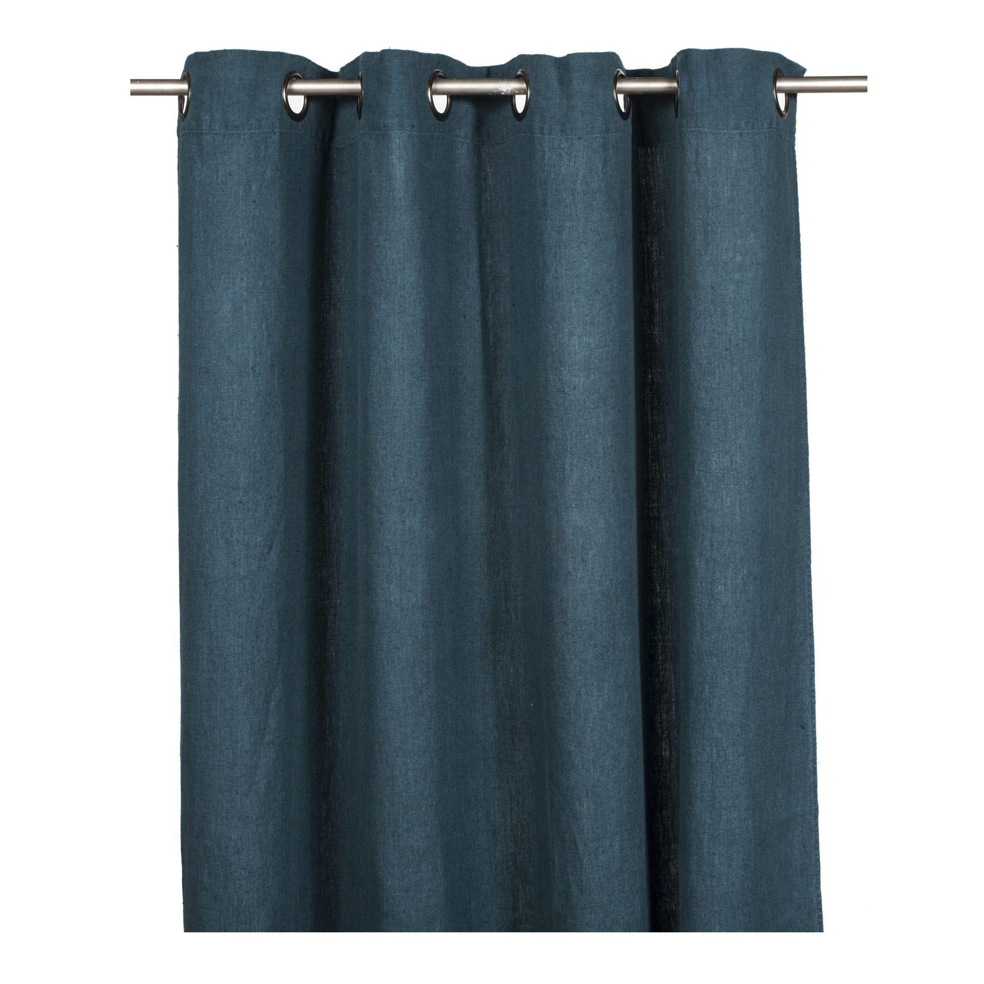 Rideau à Oeillets 140x280cm 100 Lin Lavé Bleu De Prusse