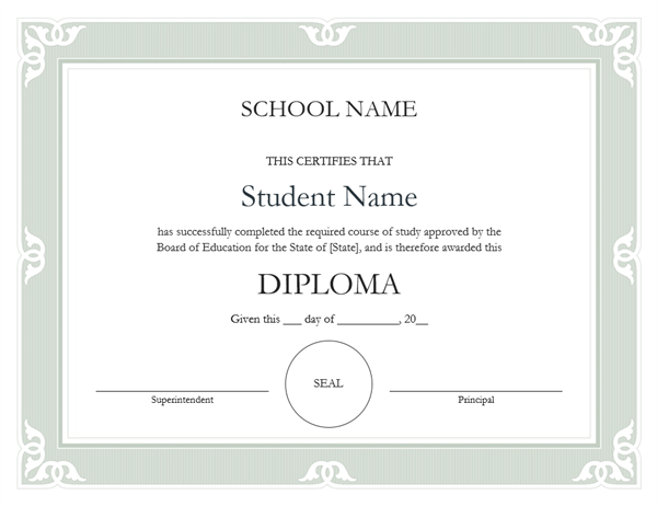 High School Diploma Certificate Fancy Design Franaises