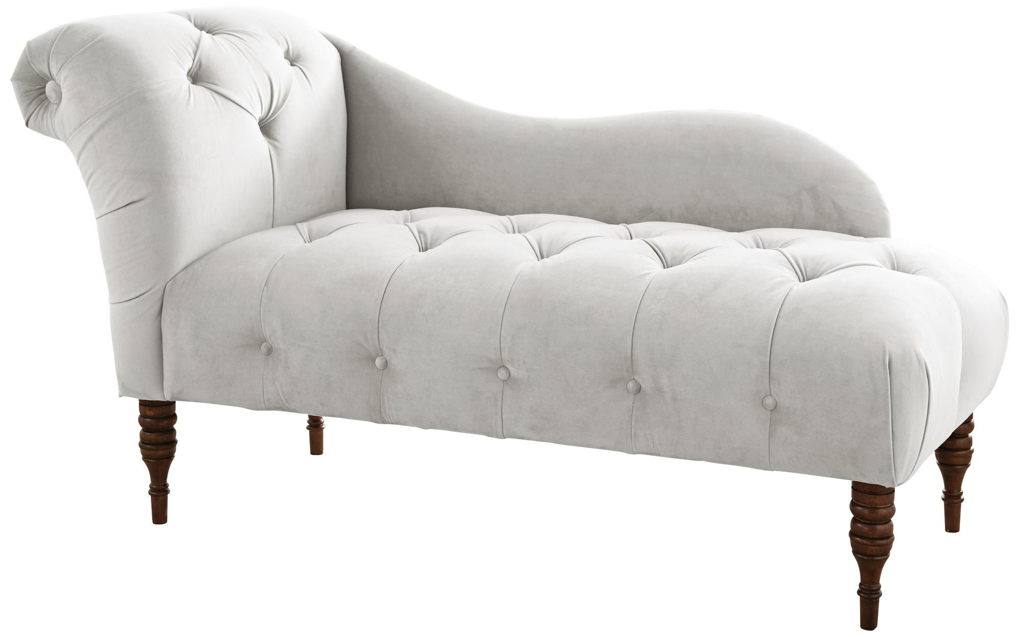 White Velvet Upholstered Chaise Lounge Chair Tufted