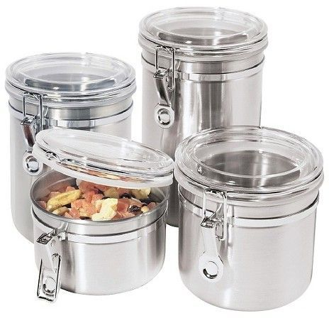 4pc Canister Set Containers Air Tight Kitchen Glass Stainless Steel Storage Food