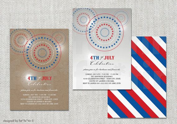 4th of July Fireworks Circles Celebration Party Invitation   Custom July Fourth Patriotic Summer Cookout Party Invite Card PRINTED PRINTABLE by fatfatin