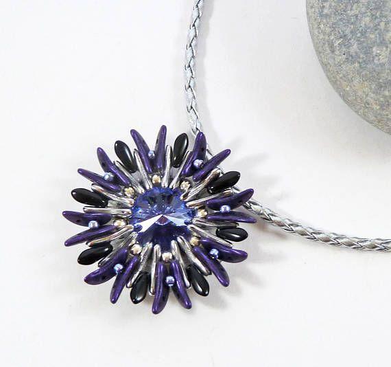 Tanzanite Flower Pendant Aster Flower Necklace Purple Statement Jewelry Necklace Unique Necklaces Unique Pendant