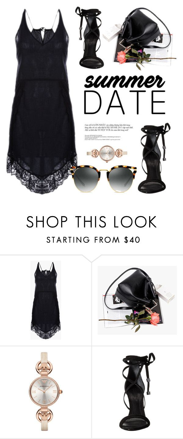 """""""Casual Date Night"""" by genuine-people ❤ liked on Polyvore featuring Giorgio Armani, Schutz, black, summerdate and rooftopbar"""