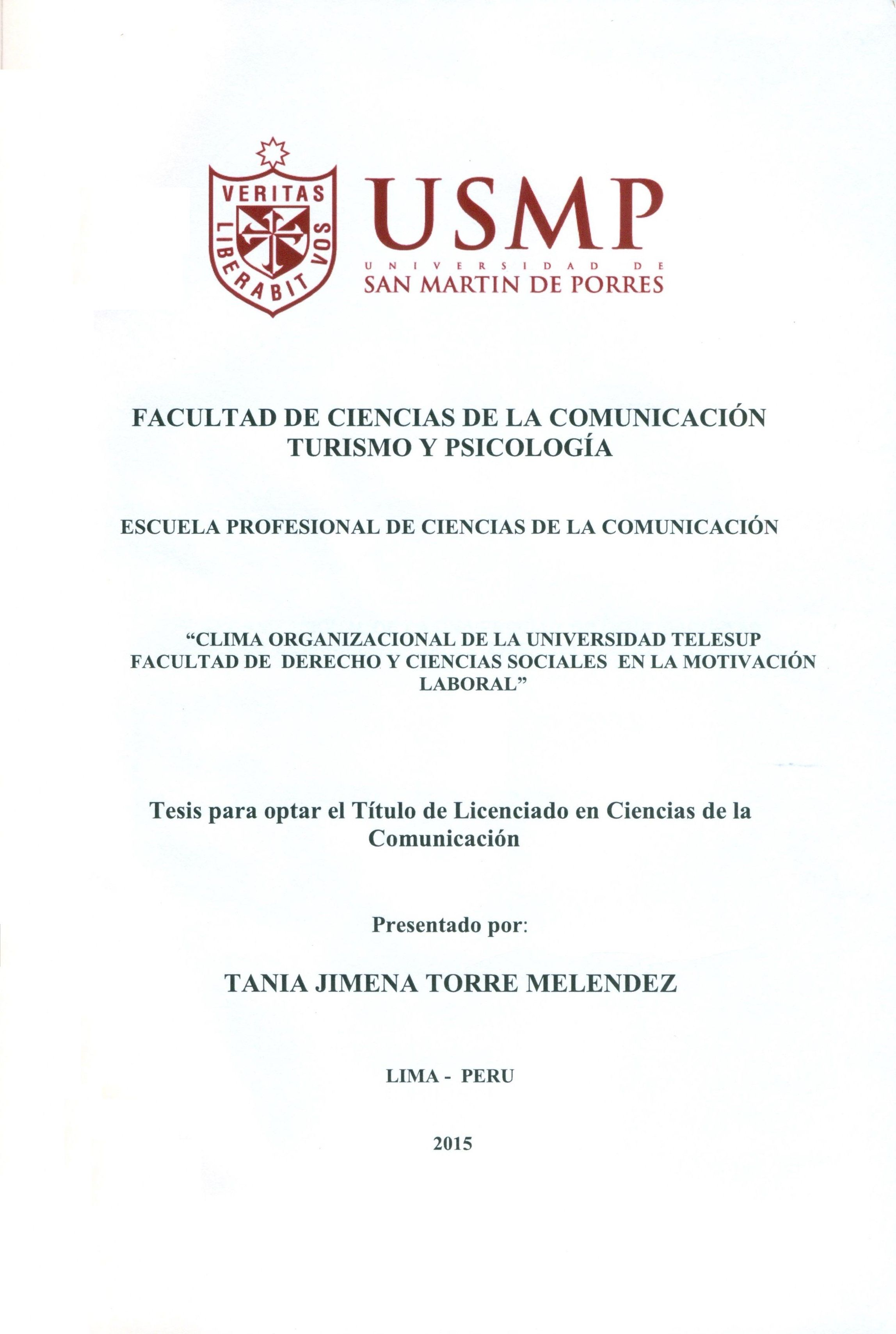 Título: Clima organizacional de la Universidad Telesup ...