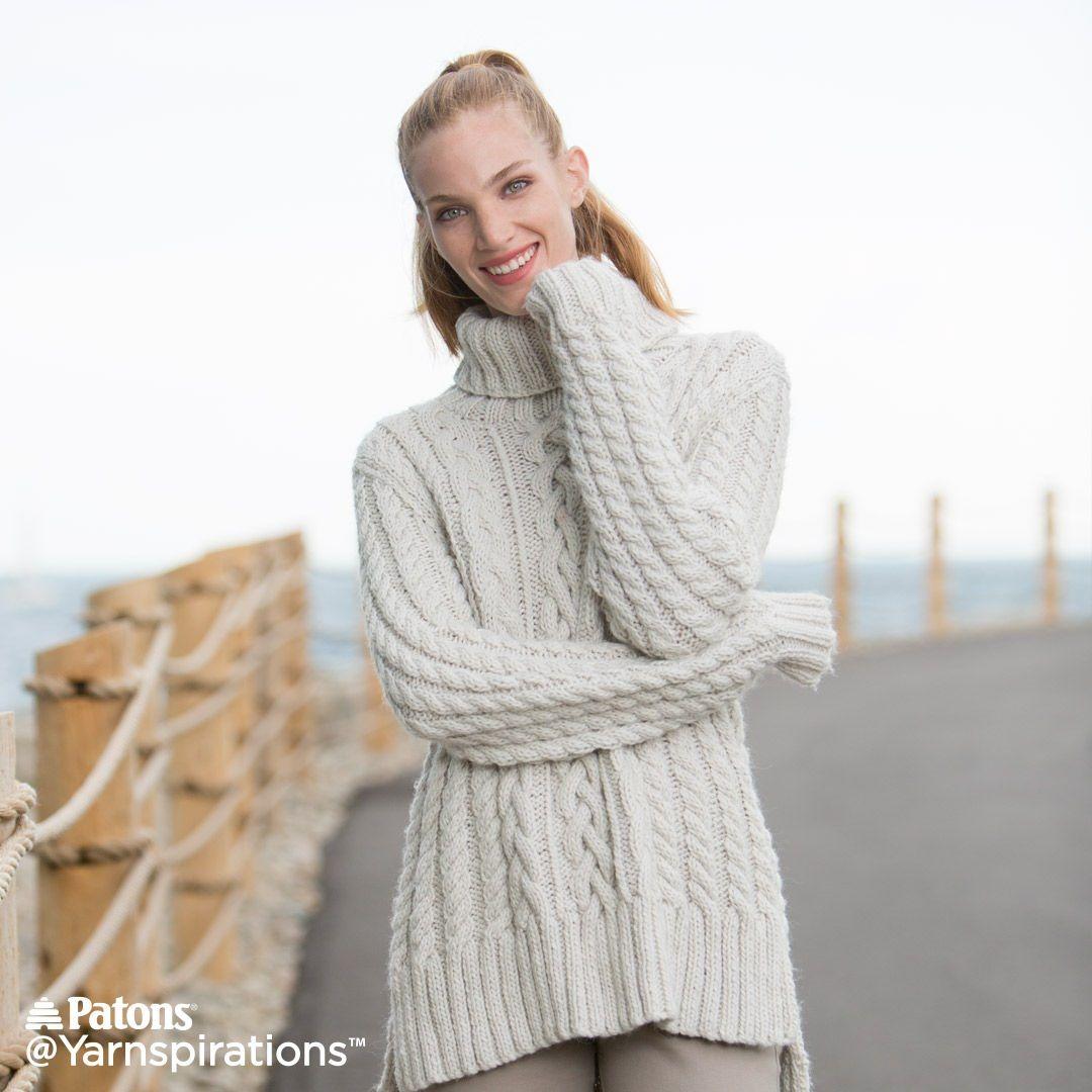 Split Hem Cable Knit Pullover   Free Pattern   Yarnspirations   knit ...
