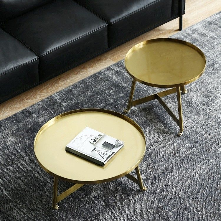 Stylish Gold Coffee Table Small Medium Large Round Rolling Side Table With Wheels Tray Top In 2020 Coffee Table Gold Coffee Table Coffee Table With Wheels