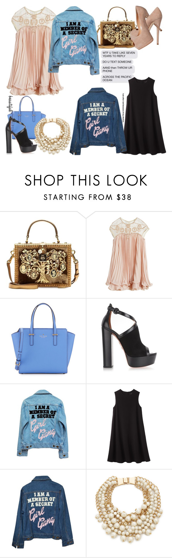 """""""I'll never leave you alone."""" by pinka50822 ❤ liked on Polyvore featuring Dolce&Gabbana, Giuseppe Zanotti, WithChic, Kate Spade, Aquazzura, High Heels Suicide, Rachel Comey, women's clothing, women and female"""