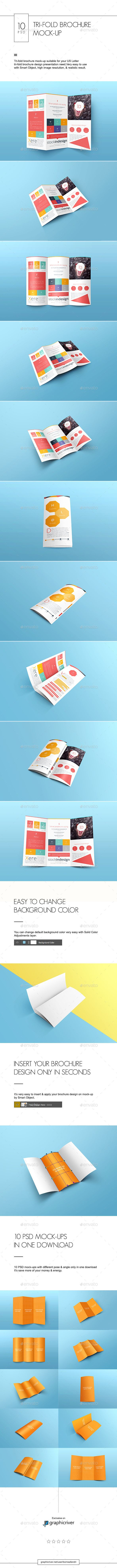 realistic tri fold brochure mock up made carefully for us letter