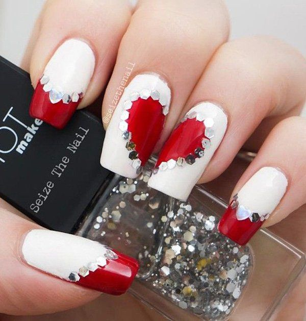 8 Valentine's Day Nail Art Designs You Must Check Out! - 50 Valentine's Day Nail Art Ideas White Nail Polish, White Nails