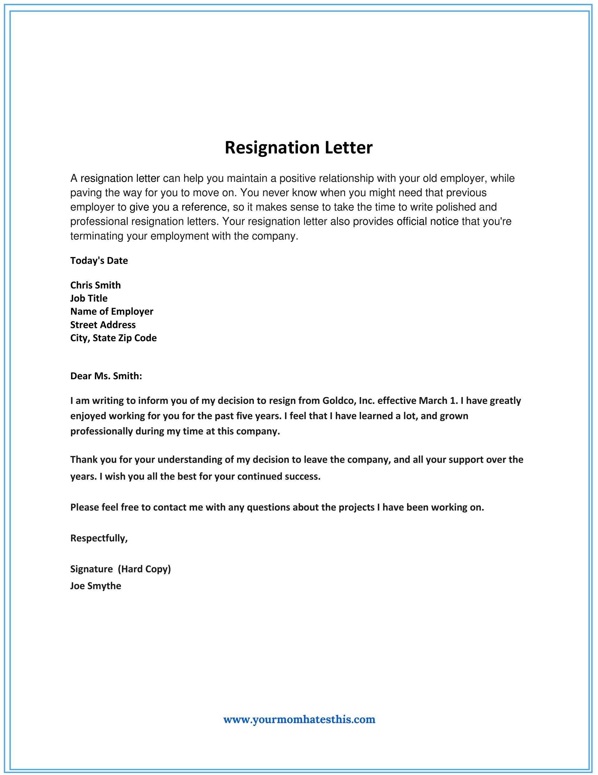 Resignation Letter Gs The Modern Rules Of Resignation