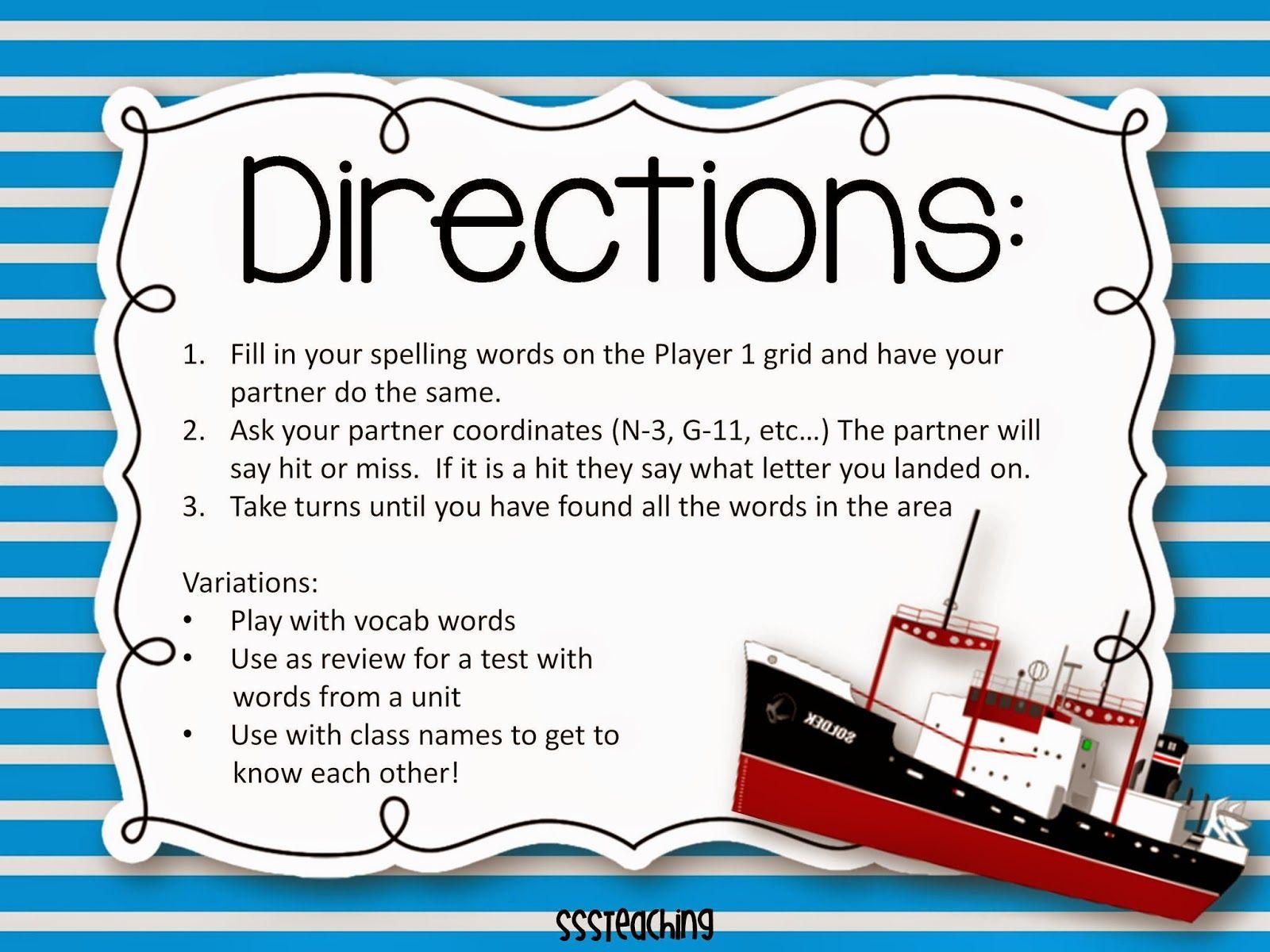 Spelling Battleship Freebie