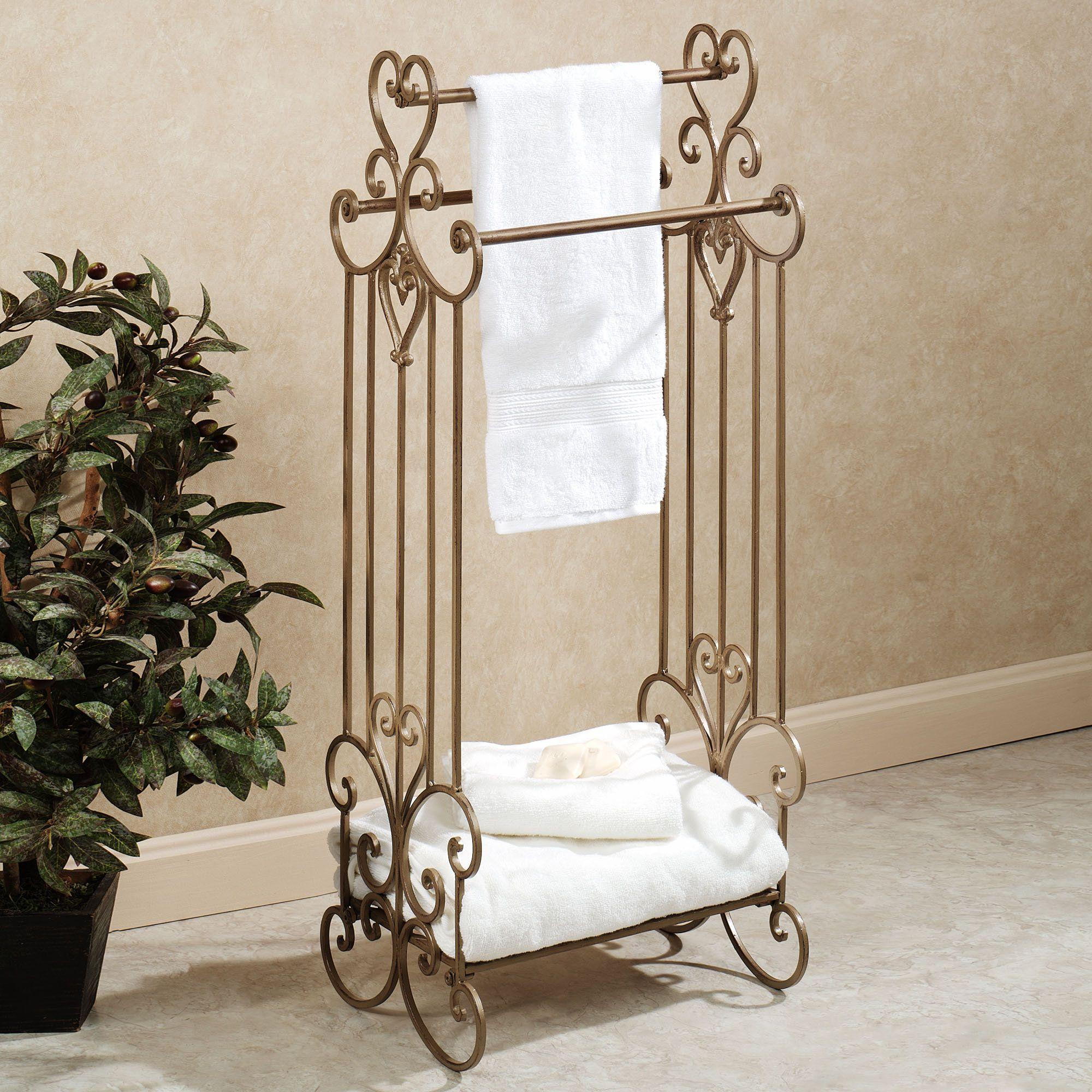 Aldabella Satin Gold Bath Towel Rack Stand Touch Of Cl Was 125 Now 89 99