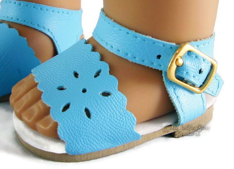 "Doll Clothes fits 18/"" American Girl Light Blue Fisherman Sandals Shoes Accessory"