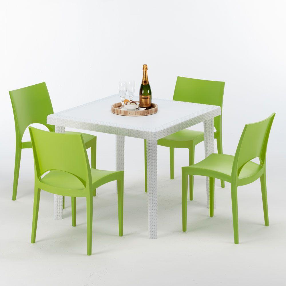 Tavolo Bianco E Sedie Colorate.Tavolo Quadrato 4 Sedie Rattan Sintetico Polyrattan