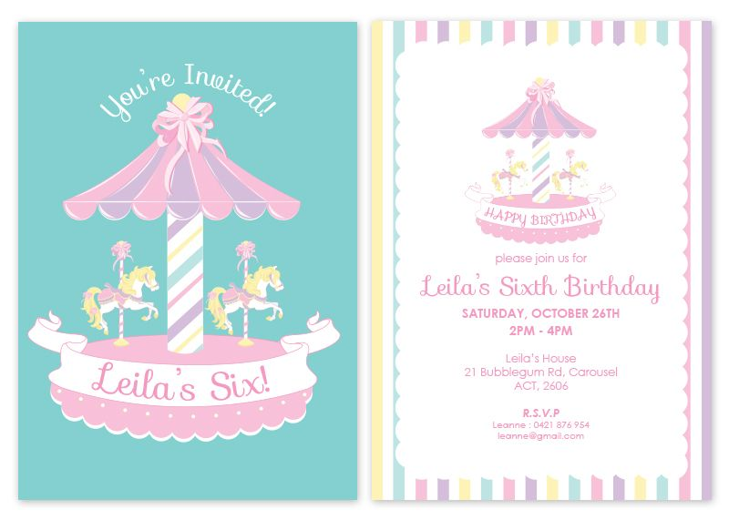 Carousel Personalised Party Invitations | My Pink Frosting Wish ...