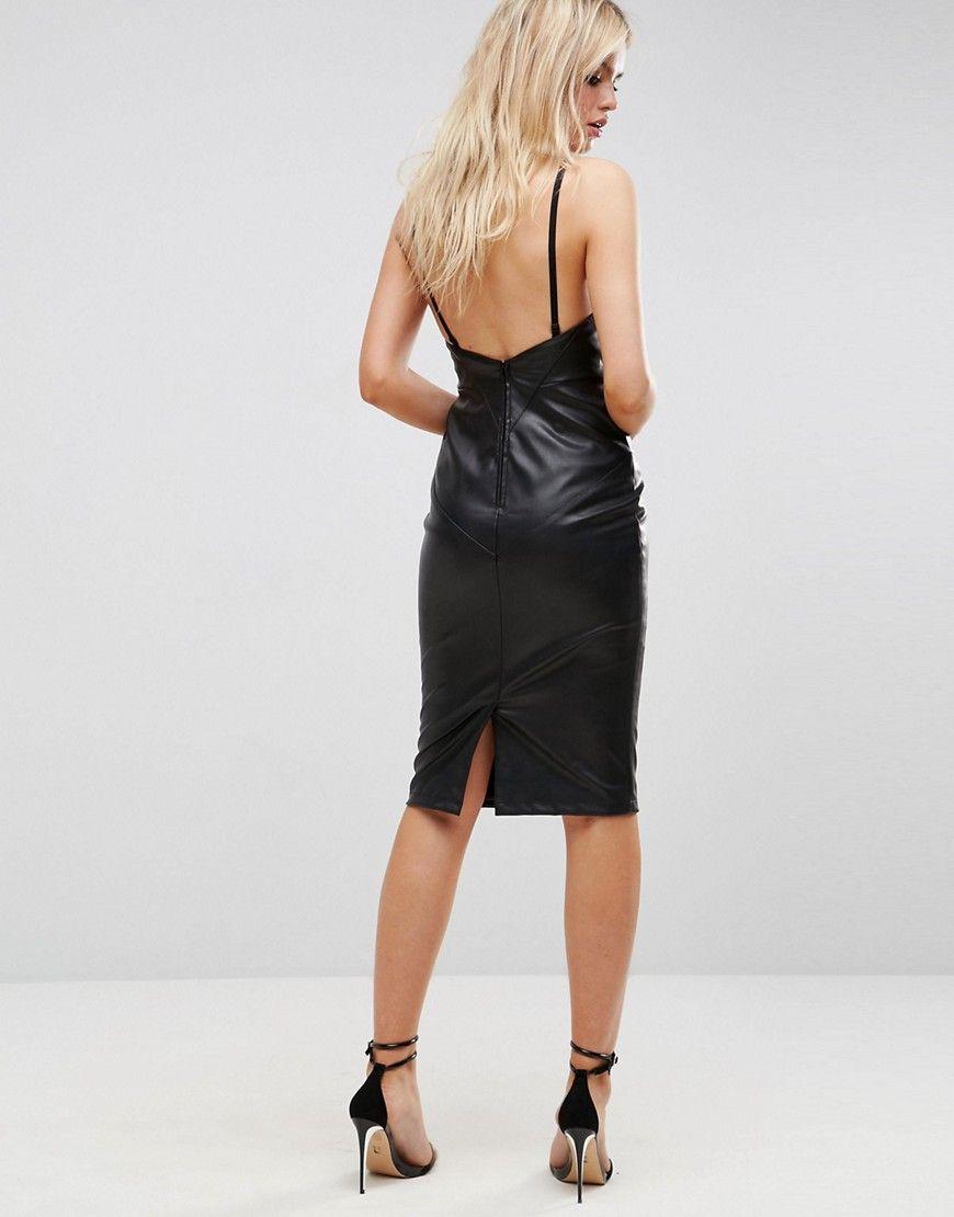 Faux Leather Seamed Bandeau Midi Dress - Black Asos oGha0V2dY0