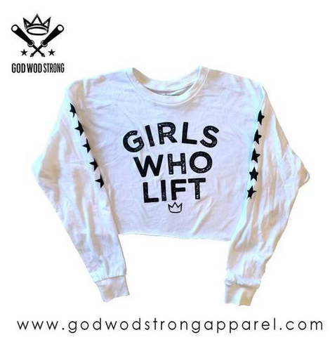 Photo of GIRLS WHO LIFT WOMENS BLACK LONGSLEEVE CROP TOP