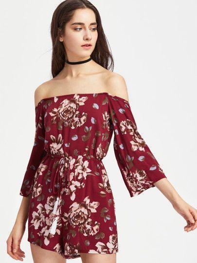 50d5ebe7f3a Red Floral Print Half Sleeve Off the Shoulder Romper Playsuit