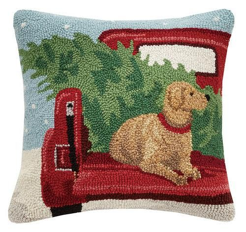 Old Red Truck with Yellow Lab Christmas Pillow