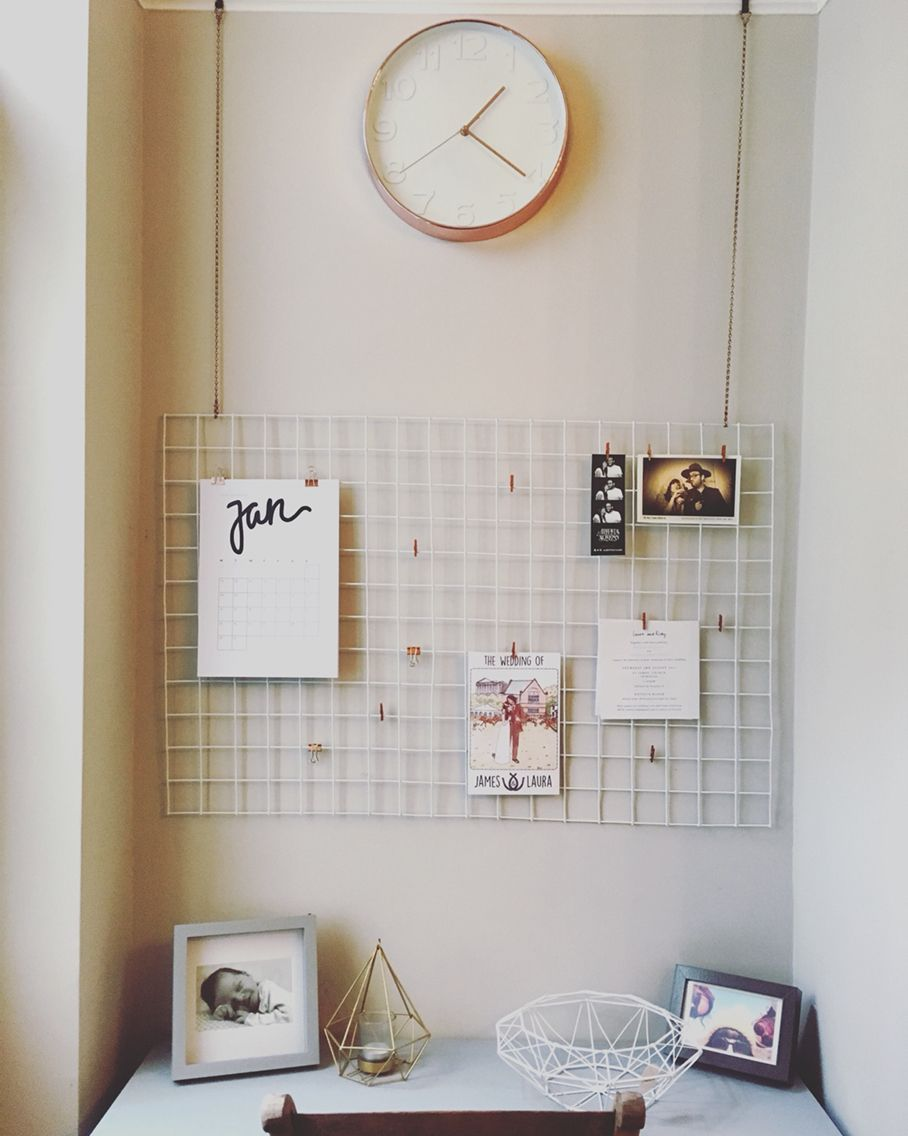 Copper and White DIY Wire Memo / Notice Board. Made from wire mesh ...