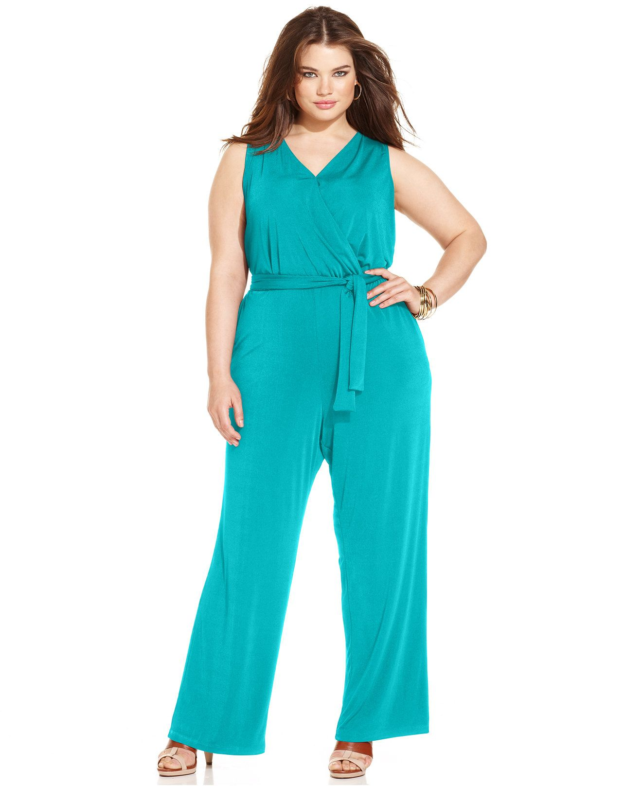 NY Collection Plus Size Sleeveless Belted Jumpsuit - Jumpsuits ...