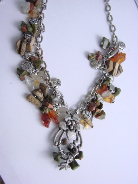Vintage   Semi-precious Stone Charms Necklace ( A RARE VINTAGE FIND ) $20.00  w/ FREE SHIPPING! (http://www.fashionpenny.com/vintage-all-semi-precious-stones-charm-drop-chandelier-necklace/)