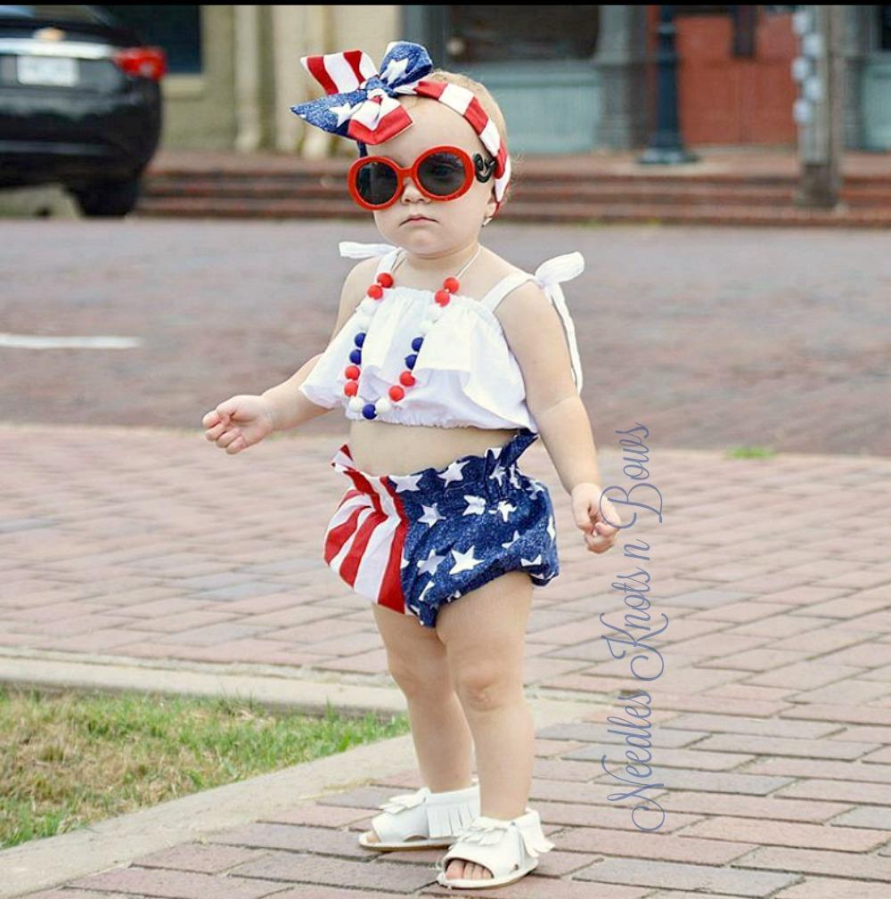 Girls 4th Of July Bloomers Headwrap Set Memorial Day Veterans Day Patriotic Outfit Girls 4th July Outfit Patriotic Outfit American Flag Clothes 4th Of July Outfits