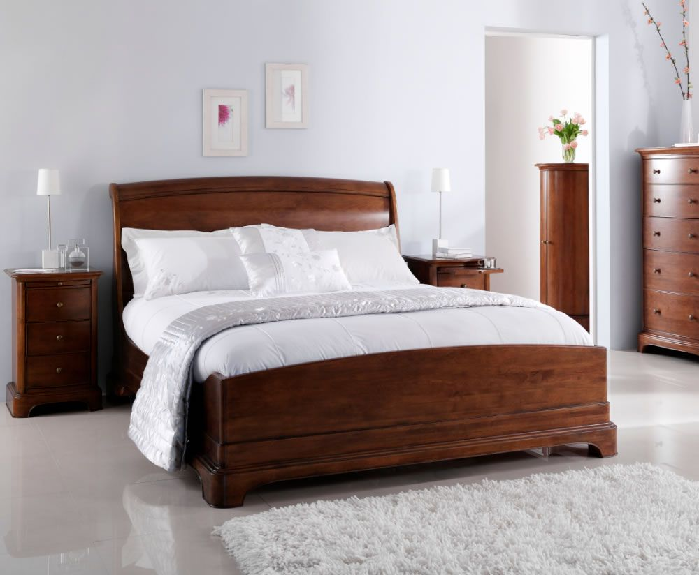 Cherry wood sleigh bed chambery cherry wooden sleigh bed home