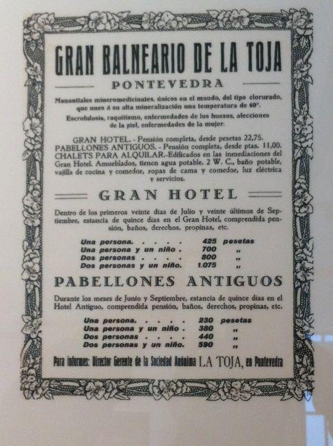 Cartel antiguo del Balneario del Gran Hotel La Toja. Old advertising from the Gran Hotel La Toja Spa, España / Spain