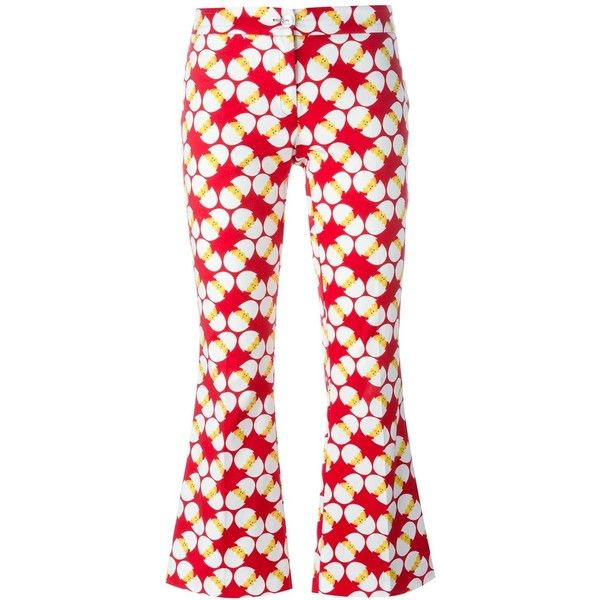 Ultràchic Egg Print Cropped Trousers ($308) ❤ liked on Polyvore featuring pants, capris, white, patterned pants, print pants, white crop pants, cropped pants and white pants
