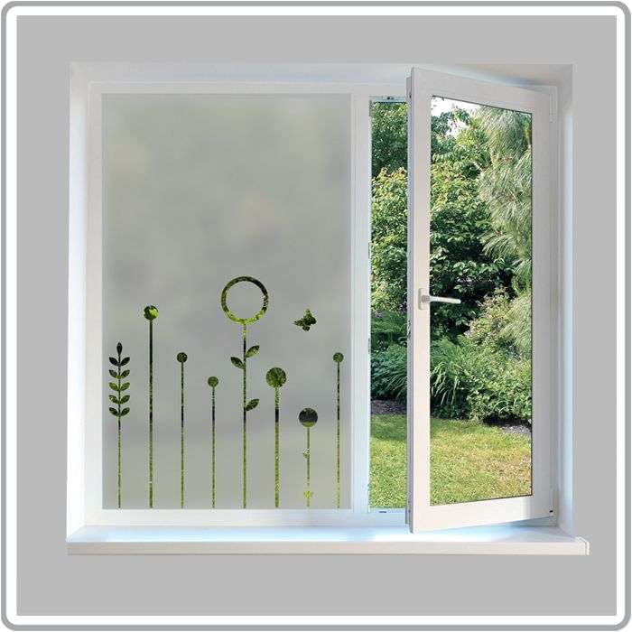 Stylish Design House Big Glass Windows Stock Photo: Contemporary Frosted Window Film
