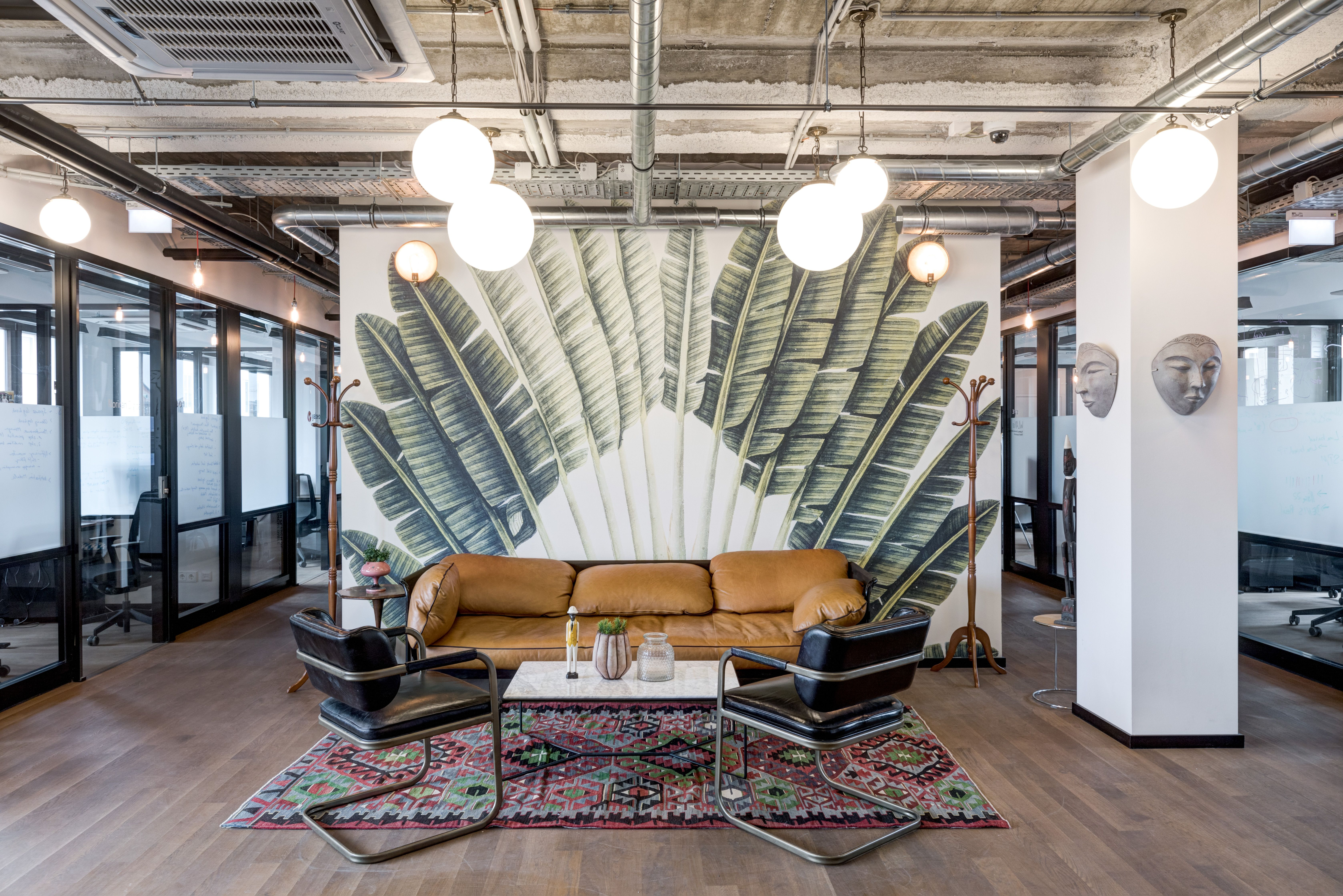 Office Lounge Area Design Decor Art Wallart Print Couches Furniture Rug Interiordesign Unique Office Lounge Area Shared Office Space Office Lounge