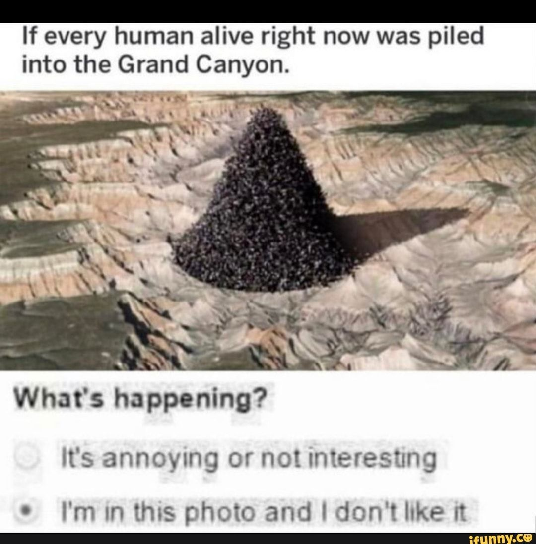If Every Human Alive Right Now Was Piled Into The Grand Canyon What S Happening Annoying Interesting I M In This Photo And I Don T Luke N Ifunny Funny Memes