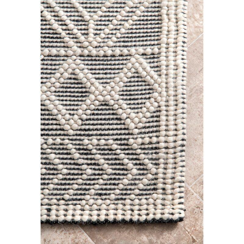Bonifacio Geometric Handmade Tufted Black White Area Rug Area Rugs White Area Rug Rugs