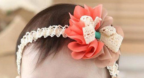 Flowered Headband with Bow - Coral & Brown -  Baby-Toddler-Young Lady by AireonnasCloset on Etsy