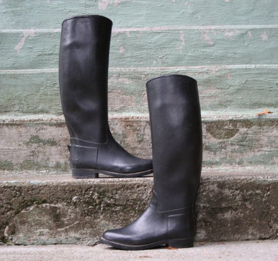 cf2157749657e Vintage 70s Rubber Equestrian Riding Boots - perfect for rainy days ...