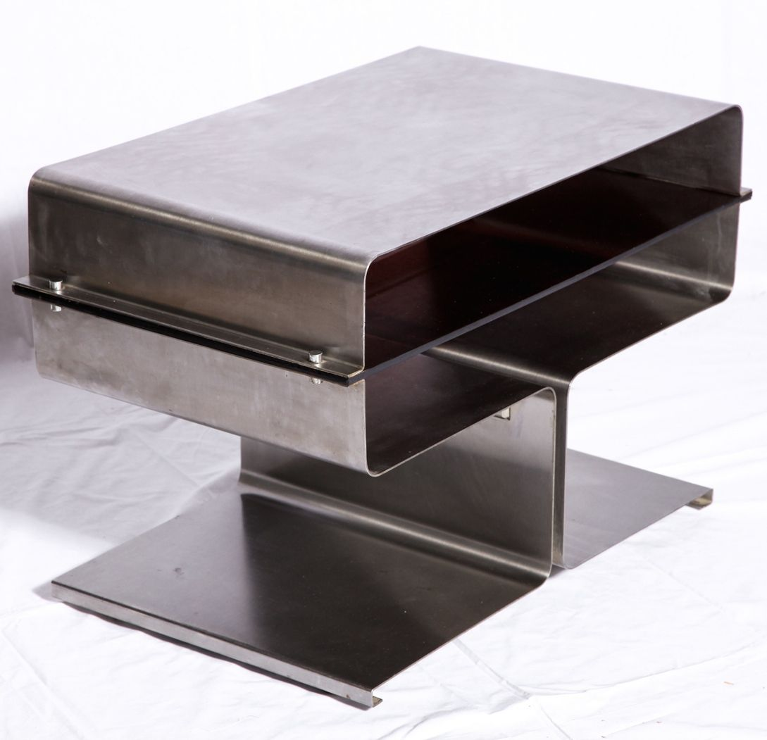Michael Boyer; Stainless Steel Side Table, C1970.