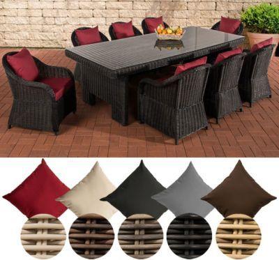 Poly-Rattan Garten Sitzgruppe CANDELA XL, 8 Stühle + Esstisch ca - gartenmobel polyrattan eckbank