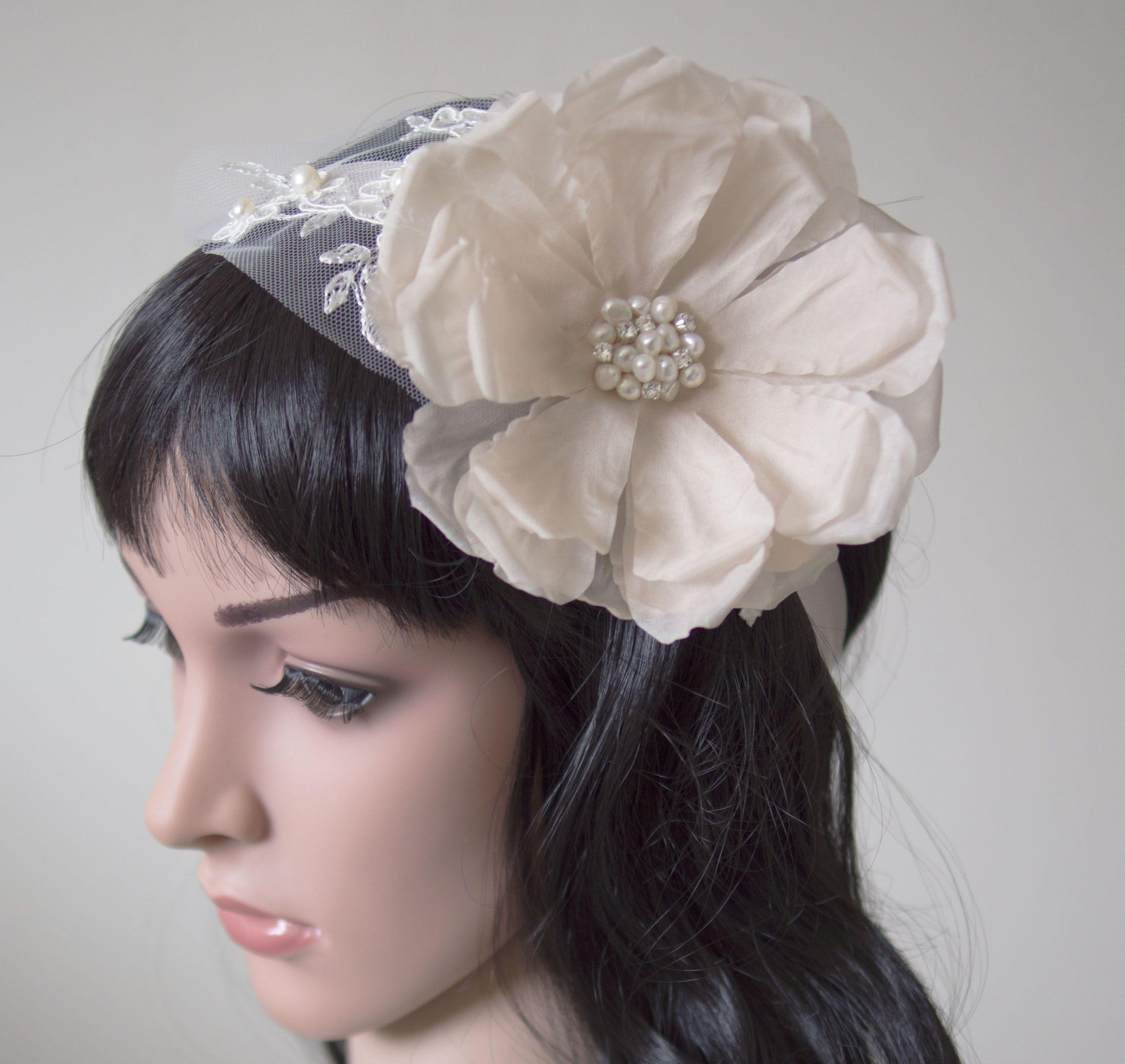 Silk Flower Pearl And Lace Bridal Headband Sash Belt Etsy
