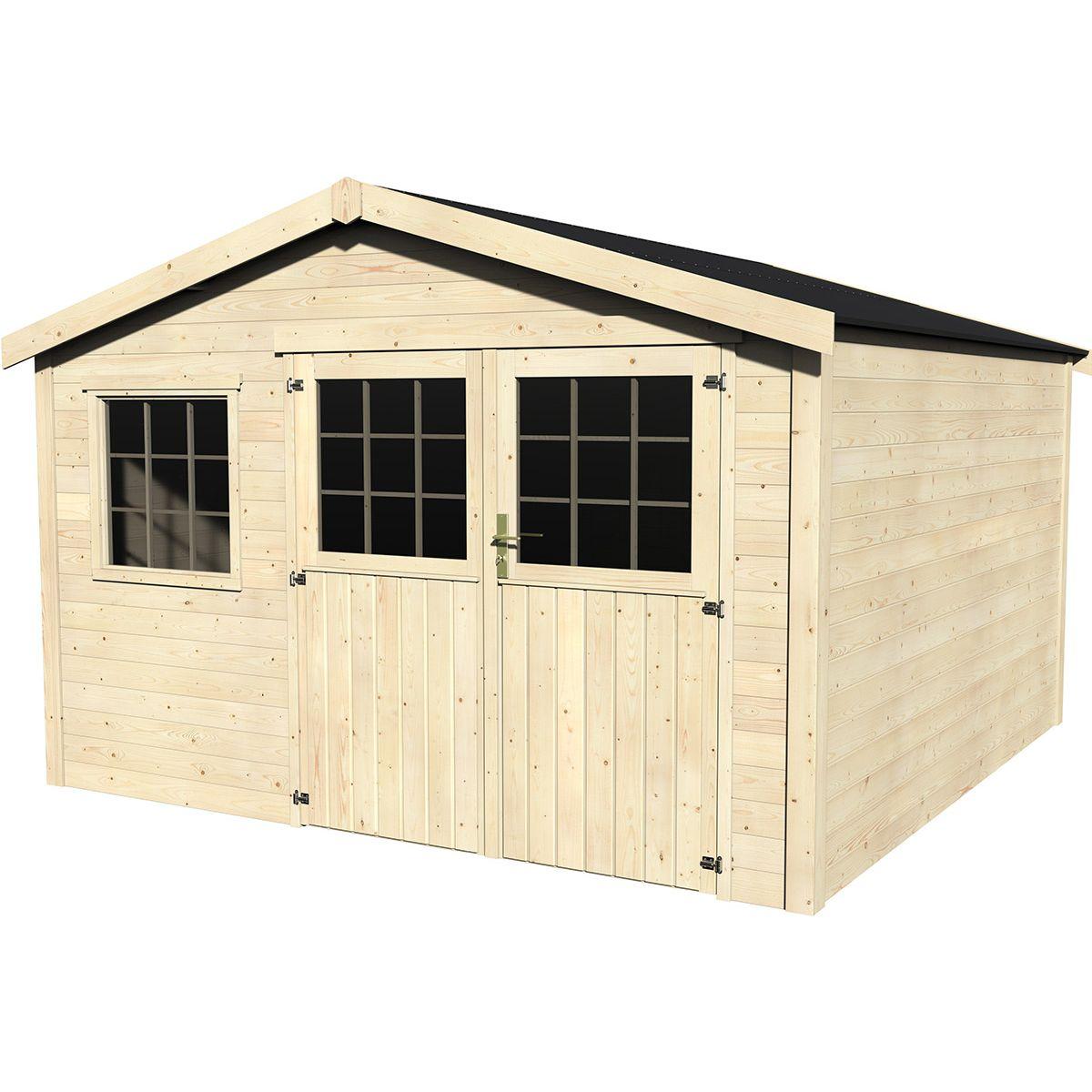 Grande Cabane De Jardin Pas Cher abri de jardin bois tourville 28 mm - 11,40 m² - taille