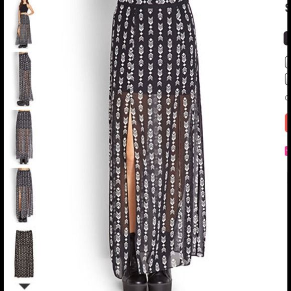 Forever21 tribal chiffon skirt Tribal maxi m slit skirt from forever 21 Forever 21 Skirts