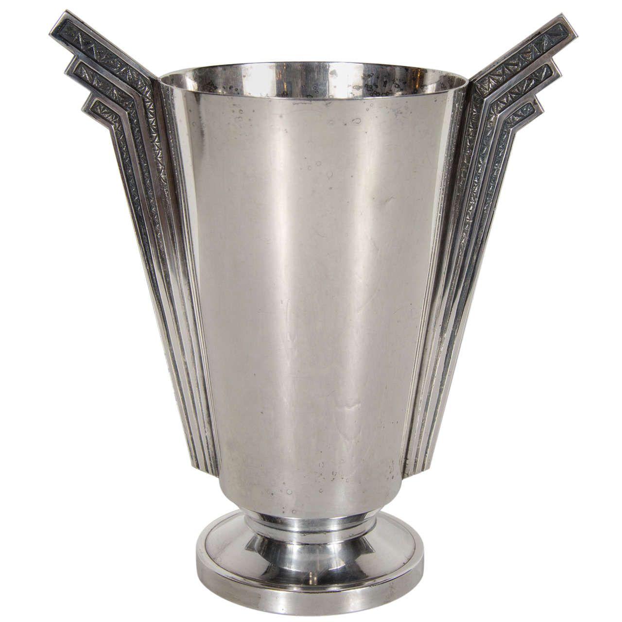 Stunning Art Deco Skyser Style Silver Plate Vase
