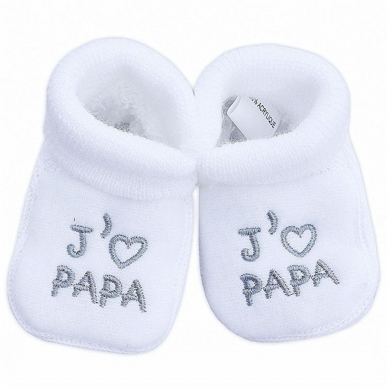 3331cf462fae6 Chaussons pour bébé broderie J aime PAPA   Babystock